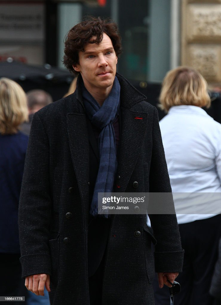 Benedict Cumberbatch sighting on set of Sherlock on April 14, 2013 in London, England.