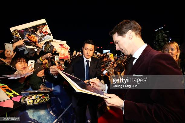 Benedict Cumberbatch signs autographs at the Seoul premiere of 'Avengers Infinity War' on April 12 2018 in Seoul South Korea