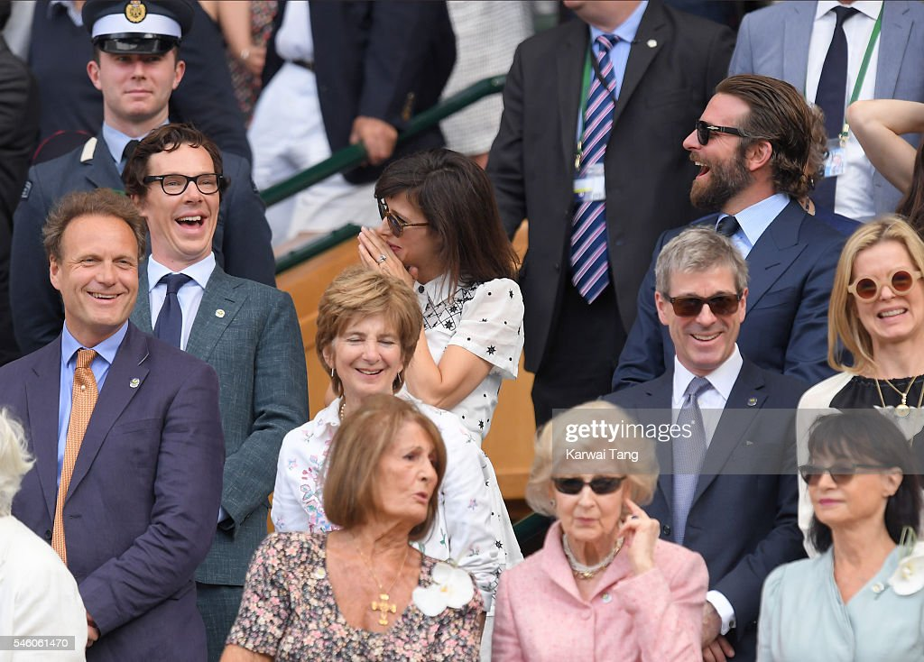 Benedict Cumberbatch, Sophie Hunter, Bradley Cooper and Irina Shayk attend the Men's Final of the Wimbledon Tennis Championships between Milos Raonic and Andy Murray at Wimbledon on July 10, 2016 in London, England.