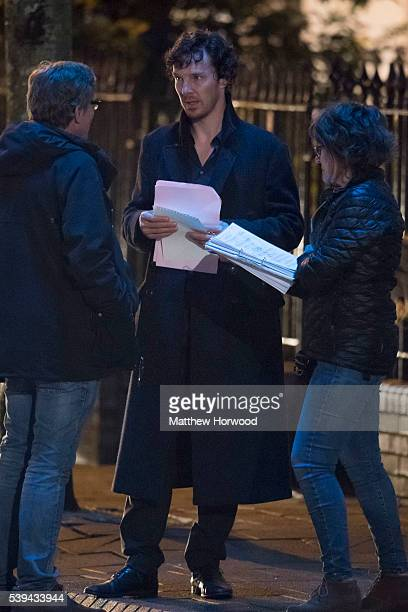 Benedict Cumberbatch spotted during filming for the fourth series of BBC show Sherlock on Charles Street in Cardiff South Wales