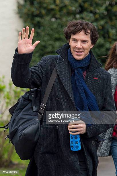 Benedict Cumberbatch spotted during filming for the third series of BBC show Sherlock at a property on Cyncoed Road on April 25 2016 in Cardiff Wales