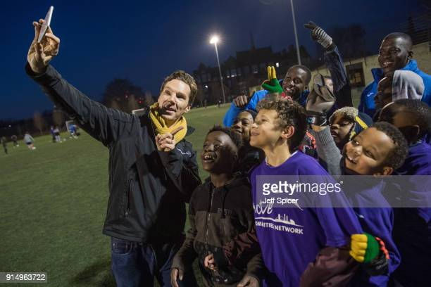 Benedict Cumberbatch visits the Laureus supported Active Communities Network programme at Burgess Park Community Sports Centre ahead of hosting the...
