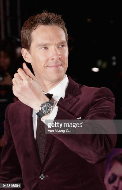 Benedict Cumberbatch watch detail attends the Seoul premiere of 'Avengers Infinity War' on April 12 2018 in Seoul South Korea