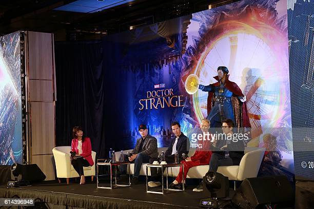 Benedict CumberbatchTilda Swinton and Scott Derrickson promote for Doctor Strange at Ritz Carlton on 13th October 2016 in Hongkong China