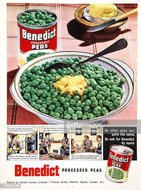 Benedict Processed Peas Advertising with cartoon strip
