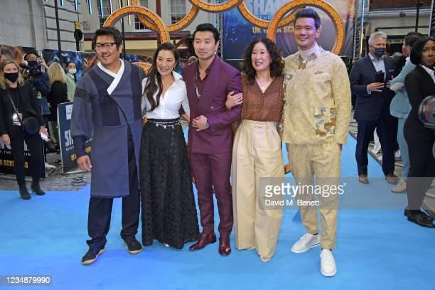 "Benedict Wong, Michelle Yeoh, Simu Liu, Sandra Oh and Director Destin Daniel Cretton attend the UK Gala Screening of Marvel Studios' ""Shang -Chi And..."