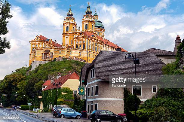 benedictine abbey of melk, austria - abby road stock photos and pictures