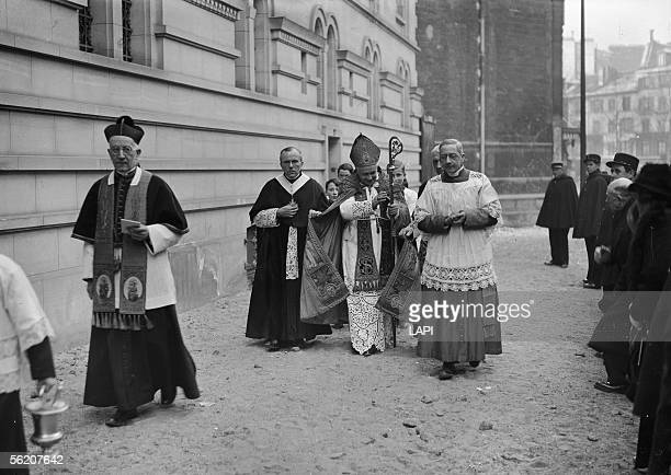 Benediction of the new church of Ternes by the cardinal Suhard Paris january 1941