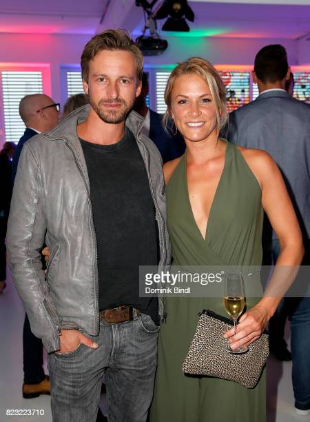 Benedikt Blaskovic and gast during the Audemars Piguet and Wempe OldSchool Hip Hop Party at Skyloftstudios on July 26 2017 in Munich Germany