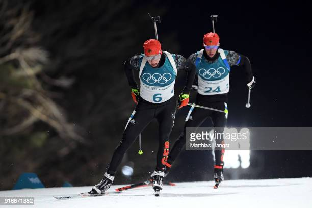 Benedikt Doll and Simon Schempp of Germany compete during the Men's 10km Sprint Biathlon on day two of the PyeongChang 2018 Winter Olympic Games at...
