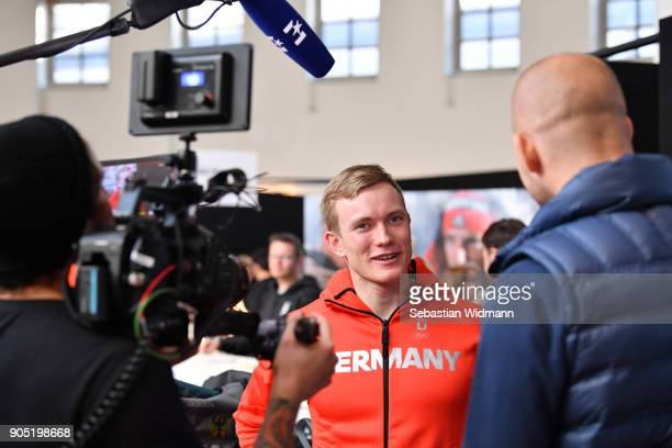 Benedikt Doll gives an interview at the 2018 PyeongChang Olympic Games German Team kit handover at Postpalast on January 15 2018 in Munich Germany