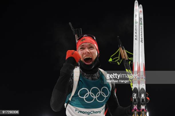 Benedikt Doll of Germany celebrates winning the bronze medal during the Men's Biathlon 125km Pursuit on day three of the PyeongChang 2018 Winter...