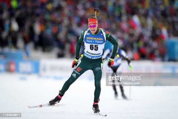 Benedikt Doll of Germany competes at the IBU Biathlon World Championships Men 10km Sprint at Swedish National Biathlon Arena on March 09, 2019 in...