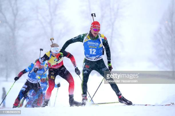 Benedikt Doll of Germany competes in the Men's Mass Start at the IBU Biathlon World Championships on March 17 2019 in Ostersund Sweden