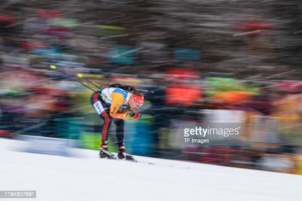 Benedikt Doll of Germany in action competes during the Men 4x7.5 km Relay Competition at the BMW IBU World Cup Biathlon Ruhpolding on January 18,...