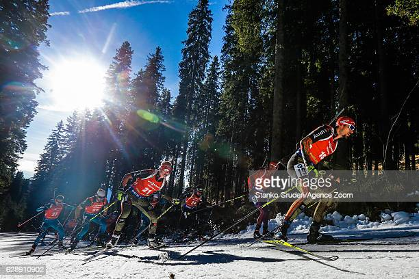 Benedikt Doll of Germany in action during the IBU Biathlon World Cup Men's and Women's Pursuit on December 10 2016 in Pokljuka Slovenia