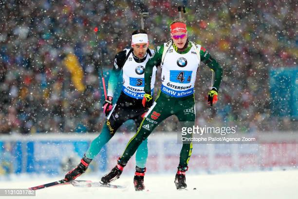 Benedikt Doll of Germany in action Martin Fourcade of France in action during the IBU Biathlon World Championships Men's and Women's Relay on March...