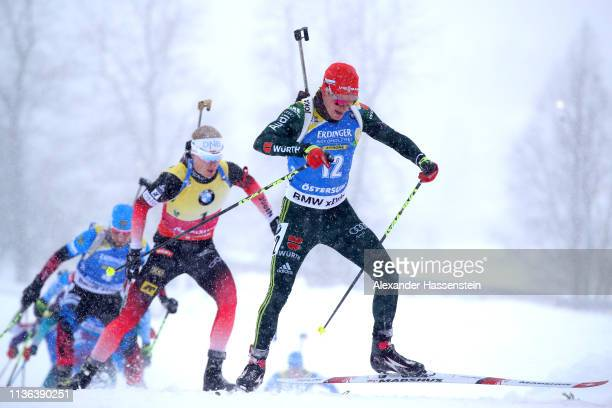 Benedikt Doll of Germany in the Men's Mass Start at the IBU Biathlon World Championships on March 17 2019 in Ostersund Sweden