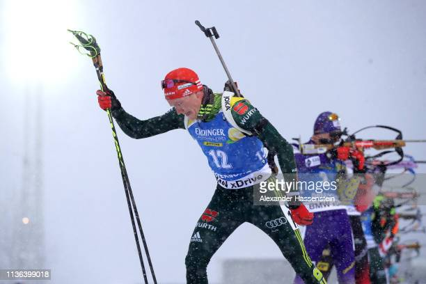 Benedikt Doll of Germany leaves the shooting range in the Men's Mass Start at the IBU Biathlon World Championships on March 17 2019 in Ostersund...