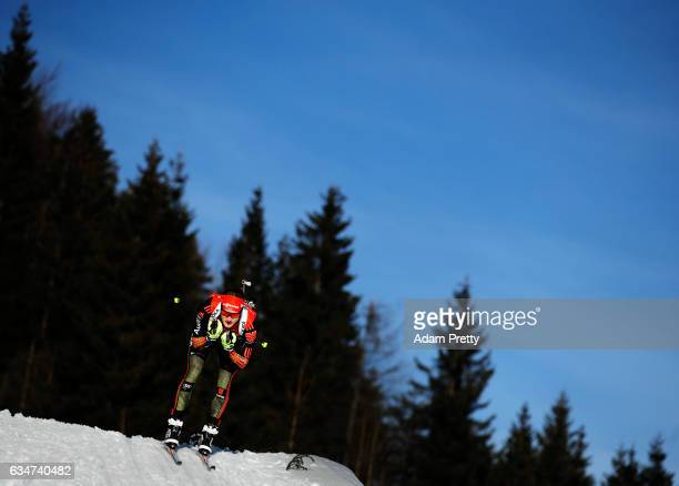 Benedikt Doll of Germany on his way to the gold medal in the men's 10km sprint competition of the IBU World Championships Biathlon 2017 at the...