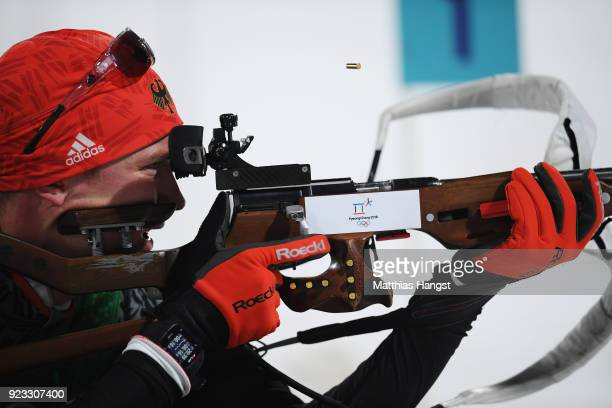 Benedikt Doll of Germany shoots during the Men's 4x75km Biathlon Relay on day 14 of the PyeongChang 2018 Winter Olympic Games at Alpensia Biathlon...