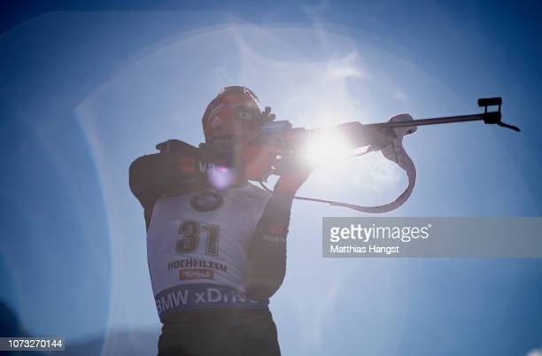 Benedikt Doll of Germany warms up on the shooting range before to the IBU Biathlon World Cup Men's 10 km Sprint on December 14 2018 in Hochfilzen...