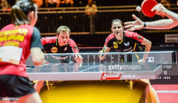 Benedikt Duda and Sabine Winter of Germany in action during the Table Tennis World Championship at Messe Duesseldorf on May 30, 2017 in Dusseldorf,...