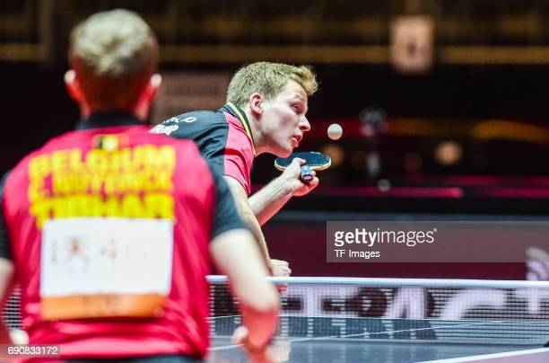 Benedikt Duda of Germany in action during the Table Tennis World Championship at Messe Duesseldorf on May 30, 2017 in Dusseldorf, Germany.