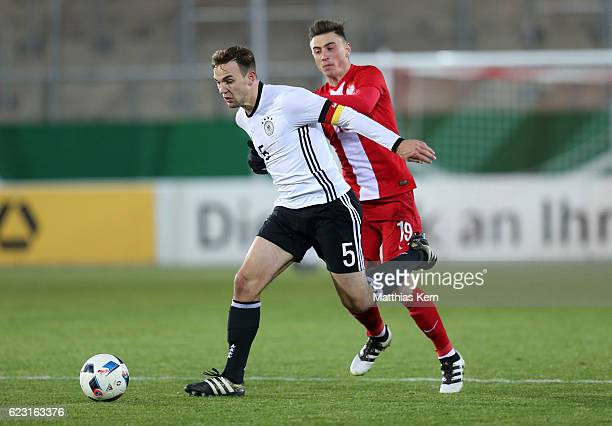 Benedikt Gimber of Germany battles for the ball with Filip Jagiello of Poland during the U20 international friendly match between Germany and Poland...