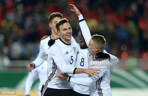 Benedikt Gimber of Germany jubilates with team mates after scoring the first goal during the U20 international friendly match between Germany and...