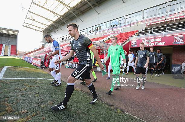 Benedikt Gimber of Germany leads his team out during the Under 20s Four Nations Tournament match between Germany and the United States at Leigh...