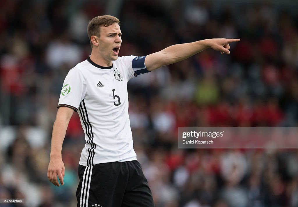 Benedikt Gimber of Germany reacts during the UEFA Under19 European Championship match between U19 Germany and u19 Portugal at mechatronik Arena on July 14, 2016 in Grossaspach, Germany.