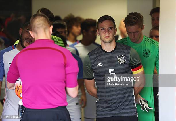 Benedikt Gimber of Germany waits in the tunnel prior to the Under 20s Four Nations Tournament match between Germany and the United States at Leigh...