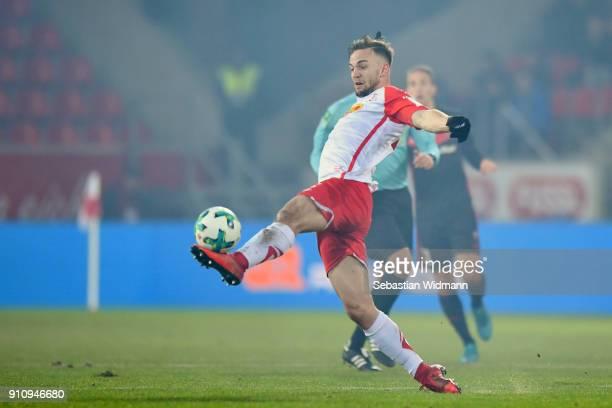 Benedikt Gimber of Regensburg plays the ball during the Second Bundesliga match between SSV Jahn Regensburg and FC Ingolstadt 04 at Continental Arena...