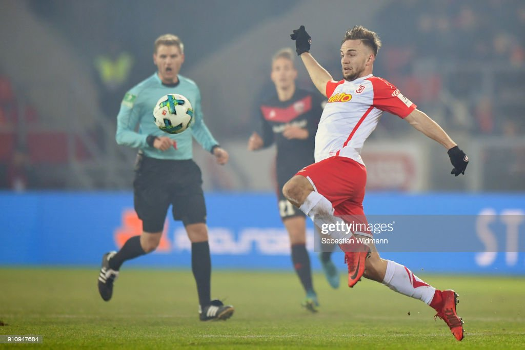 Benedikt Gimber of Regensburg plays the ball during the Second Bundesliga match between SSV Jahn Regensburg and FC Ingolstadt 04 at Continental Arena on January 26, 2018 in Regensburg, Germany.