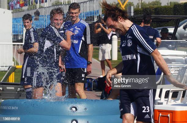 Benedikt Hoewedes and Christian Fuchs during a training session of Schalke 04 at the ASPIRE Academy for Sports Excellence on January 8 2012 in Doha...