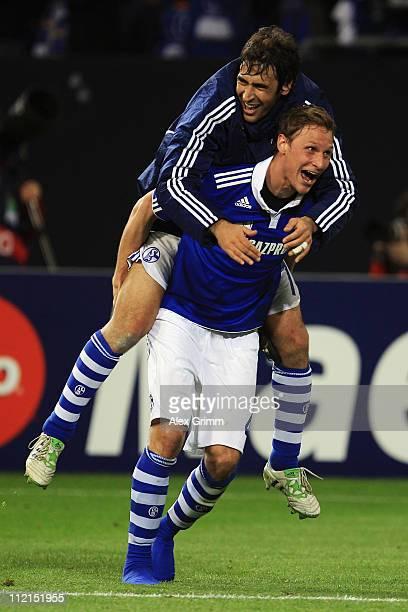 Benedikt Hoewedes and Raul Gonzalez of Schalke celebrate after the UEFA Champions League Quarter Final second leg match between Schalke 04 and Inter...