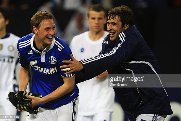 Benedikt Hoewedes and Raul Gonzalez of Schalke celebrate after the UEFA Champions League Quarter Final second leg match between Schalke 04 and Inter...