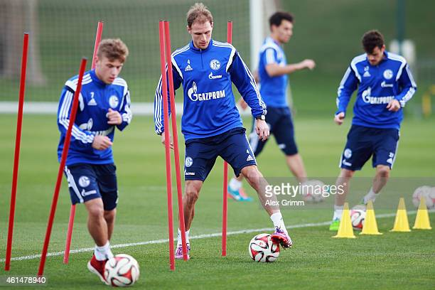 Benedikt Hoewedes controles the ball during the FC Schalke 04 training camp at ASPIRE Academy for Sports Excellence on January 13 2015 in Doha Qatar