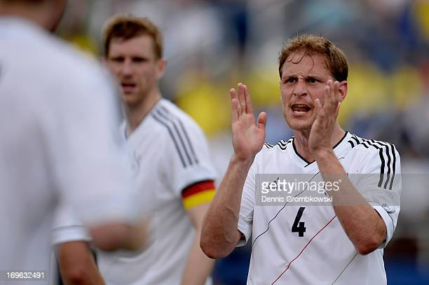 Benedikt Hoewedes of Germany reacts during the International Friendly match between Ecuador and Germany at FAU stadium on May 29 2013 in Boca Raton...