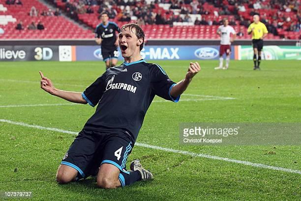 Benedikt Hoewedes of Schalke celebrates the second goal during the UEFA Champions League group B match between Benfica Lisbon and FC Schalke 04 at...