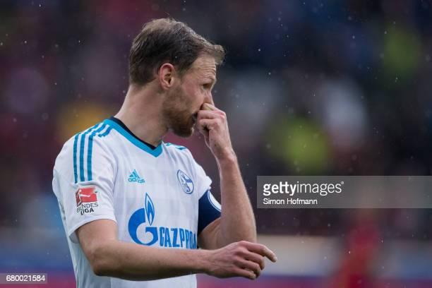 Benedikt Hoewedes of Schalke reacts during the Bundesliga match between SC Freiburg and FC Schalke 04 at SchwarzwaldStadion on May 7 2017 in Freiburg...