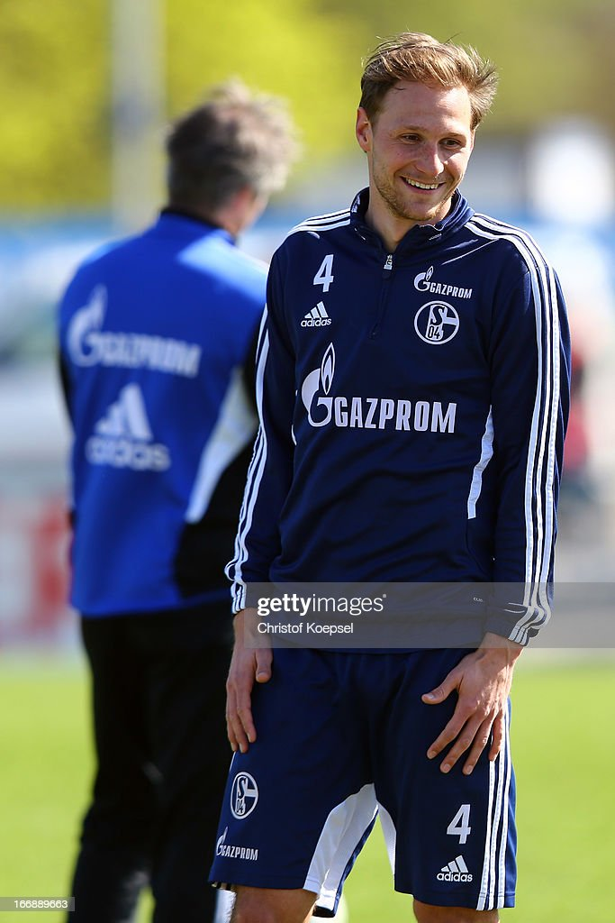 Benedikt Hoewedes smiles during the FC Schalke 04 training session at their training ground on April 18, 2013 in Gelsenkirchen, Germany.