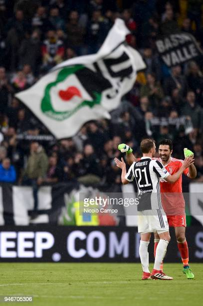 Benedikt Howedes and Gianluigi Buffon celebrate the victory at the end of the Serie A football match between Juventus FC and UC Sampdoria Juventus FC...