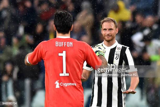 Benedikt Howedes and Gianluigi Buffon of Juventus celebrate the victory at the end of the serie A match between Juventus and UC Sampdoria at Allianz...