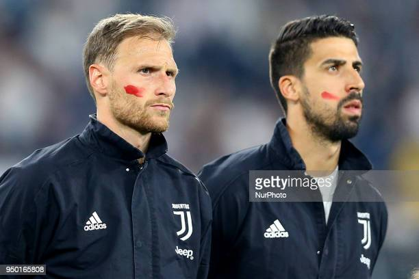Benedikt Howedes and Sami Khedira of Juventus took to the pitch with a red streak on their cheeks as part of a social media initiative targeting...