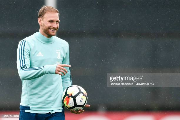 Benedikt Howedes during the Juventus training session at Juventus Center Vinovo on May 2 2018 in Vinovo Italy