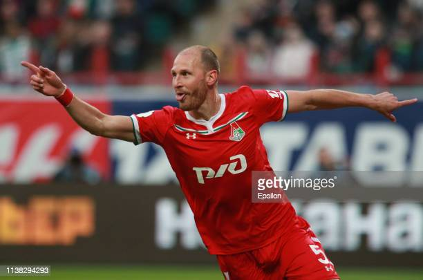 Benedikt Howedes of FC Lokomotiv Moscow celebrates after scoring a goal during the Russian Premier League match between FC Lokomotiv Moscow and PFC...