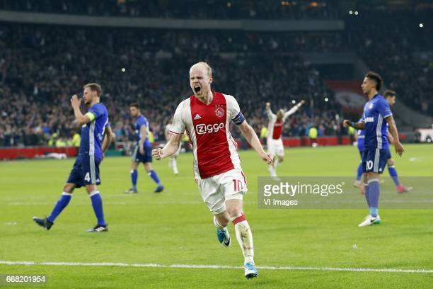 Benedikt Howedes of FC Schalke 04 Davy Klaassen of Ajax Thilo Kehrer of FC Schalke 04during the UEFA Europa League quarter final match between Ajax...