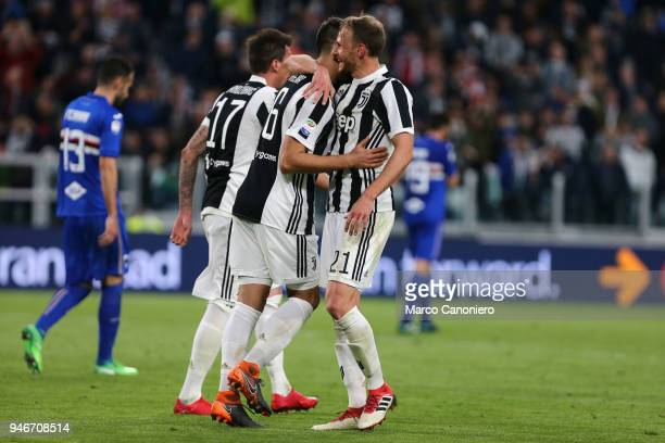 Benedikt Howedes of Juventus FC celebrate with his teammate Sami Khedira after scoring a goal during the Serie A football match between Juventus FC...